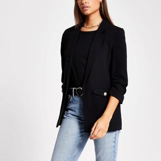 River Island Womens Black button pocket ruched sleeve blazer