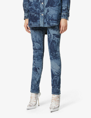 Moschino Toile de Jouy high-rise skinny stretch-denim jeans