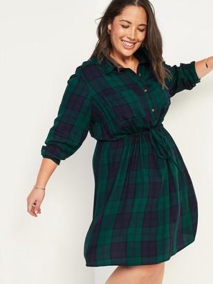 Old Navy Waist-Defined Plaid Flannel No-Peek Plus-Size Shirt Dress