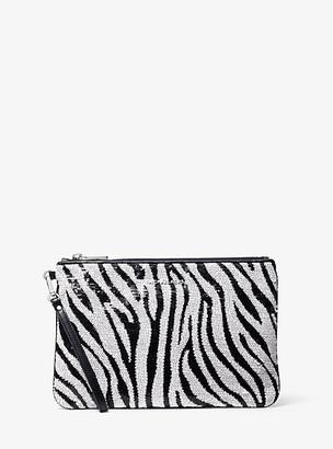Michael Kors Large Zebra Sequined Zip Pouch