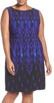 Tahari Print Sleeveless Scuba Knit Sheath Dress (Plus Size)