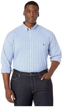 Polo Ralph Lauren Big & Tall Big Tall Long Sleeve Performance Woven (White/Azul) Men's Long Sleeve Button Up