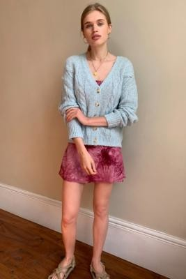 Urban Outfitters Cable Knit Boyfriend Cardigan - Blue XS at