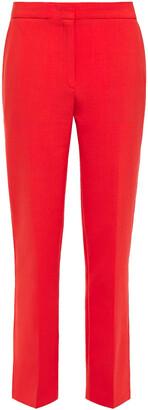 Victoria Victoria Beckham Satin-trimmed Stretch-crepe Straight-leg Pants