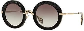 Miu Miu MU80RS Round Metal Frame Sunglasses, Black