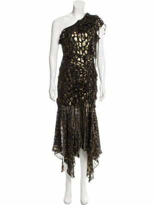 Veronica Beard Silk Midi Length Dress Black
