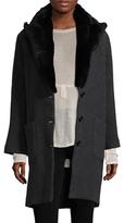 Zadig & Voltaire Mikado Rabbit Fur-Trimmed Wool Coat