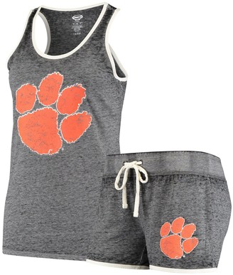 Women's Concepts Sport Charcoal Clemson Tigers Loyalty Racerback Tank Top & Shorts Sleep Set