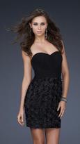 La Femme Ruched Strapless Black Cocktail Dress 17033