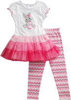 Youngland Pink & White Bunny Ruffle Tee & Leggings - Infant & Girls