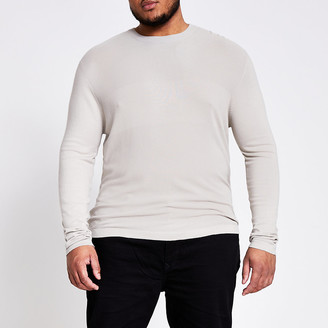 River Island Big and Tall stone slim fit knitted jumper