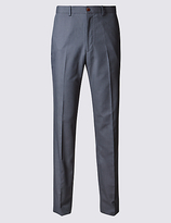 M&S Collection Pure Cotton Textured Tailored Fit Trousers