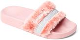 Blush & Silver Faux Fur Slide