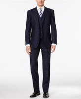 English Laundry Men's Blue Embroidered Swirl Vested Slim-Fit Suit