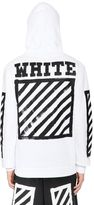 Off-White Hooded Zip-Up Cotton Sweatshirt