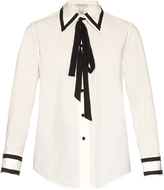 Marc Jacobs Tie-neck cotton-blend poplin shirt