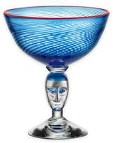 Kosta Boda Red Rim Brains Footed Bowl in Blue