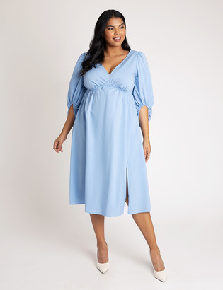 ELOQUII Deep V Midi Dress