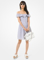 MICHAEL Michael Kors Striped Linen and Cotton Off-The-Shoulder Dress