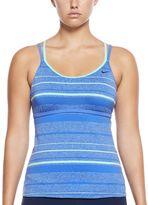 Nike Women's Filtered Striped Crossback Tankini Top