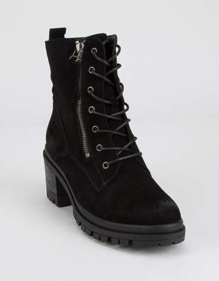 Wild Diva Suede Lace Up Lug Womens Boots