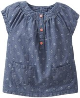 Carter's Woven Babydoll (Baby) - Chambray-3 Months