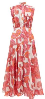 Zimmermann Peggy Paisley-print Ramie Shirtdress - Womens - Pink Print