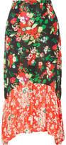RIXO London - Leandra Floral-print Silk Crepe De Chine Midi Skirt - Red