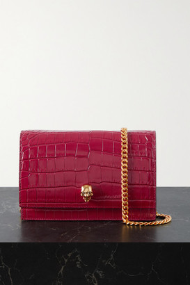 Alexander McQueen Skull Croc-effect Leather Shoulder Bag - Red