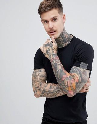 Replay raw hem crew neck t-shirt in black