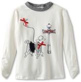 Kate Mack Poodle In Paris Poodle Tee (Big Kids) (Ivory) Girl's T Shirt