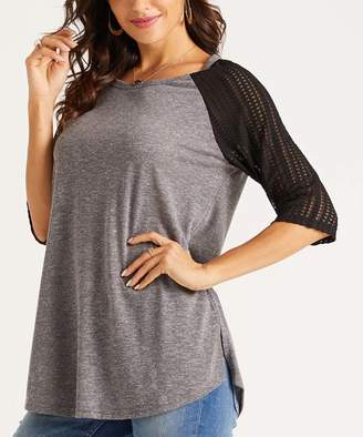 Suzanne Betro Weekend Women's Tunics 102Charcoal/Black - Charcoal & Black Lace-Sleeve Raglan Top - Women & Plus