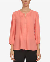 CeCe Pintucked Henley Blouse