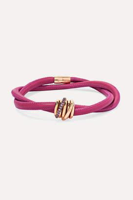 de Grisogono Allegra Leather, 18-karat Rose Gold And Sapphire Bracelet - Bright pink