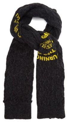 Raf Simons Logo-print Cable-knit Wool Scarf - Mens - Dark Grey