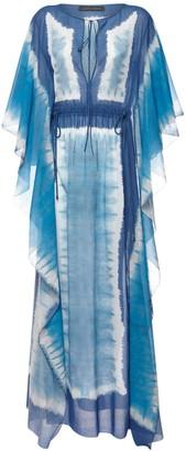 Alberta Ferretti Tie Dye Cotton Muslin Caftan Dress