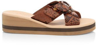 Ancient Greek Sandals Thais Python-Embossed Leather Platform Wedge Mules