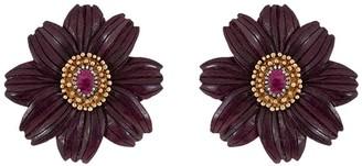 Silvia Furmanovich 18kt rose gold diamond Sculptural Botanical Flower earrings