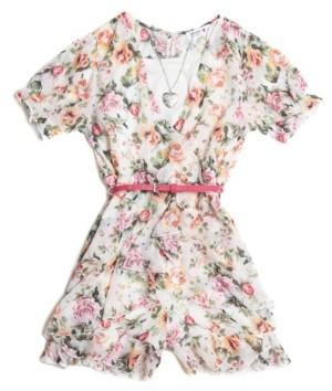 Beautees Big Girls Ruffle Floral-Print 4 Piece Romper Dress Set