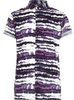 River Island Boys Purple tie dye print short sleeve shirt