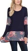 Celeste Navy Floral-Panel Tunic