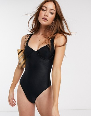 Faithfull The Brand Faithfull mona ribbed underwirred swimsuit in plain black ribbing