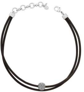 Lucky Brand Rock Crystal and Leather Silvertone Choker Necklace
