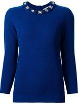 Carolina Herrera embellished frill collar jumper