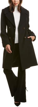 Nine West Double-Breasted Wool-Blend Coat