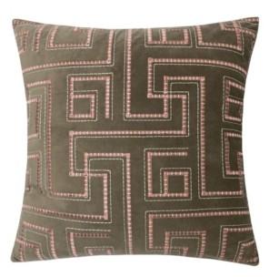 Homey Cozy Natalie Embroidery Velvet Square Decorative Throw Pillow