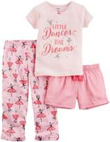 "Carter's Little Girls' Toddler ""Little Dancer, Big Dreams"" 3-Piece Pajamas"