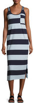 ATM Anthony Thomas Melillo Striped Mercerized Jersey Dress, Blue Pattern