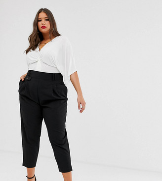 Asos DESIGN Curve tailored smart high waist balloon trousers-Black