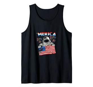 America 4th of July USA Flag Patriotic Astronaut shirt gift Tank Top